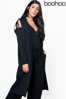 Boohoo Tie Sleeve Cold Shoulder Duster