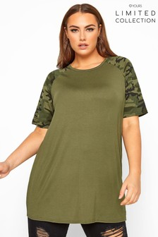 Yours Collection Curve Camo Print Raglan Sleeve Top