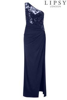 Lipsy One Shoulder Sequin Detail Maxi Dress