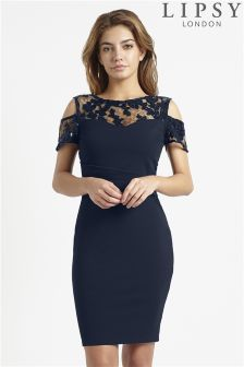 Lipsy Cold Shoulder Sequin Detail Bodycon Dress