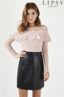 Lipsy Petite 2 In 1 PU Lace Long Sleeve Dress