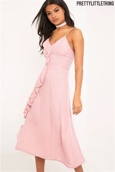 PrettyLittleThing Ruffle Detail Midi Dress