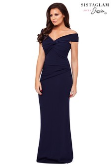 Sistaglam Loves Jessica Knot Rouched Maxi Dress