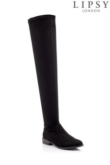 Lipsy Stretch Flat Over The Knee Boots