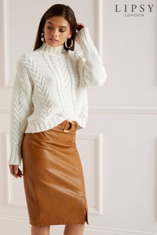 Lipsy D Ring Faux Leather Pencil Skirt