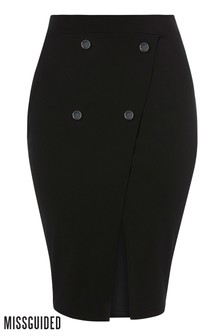 Missguided Curve Split Front Button Down Midi Skirt