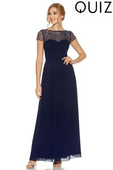 Quiz Chiffon Embroidered Cap Sleeve V neck Maxi Dress