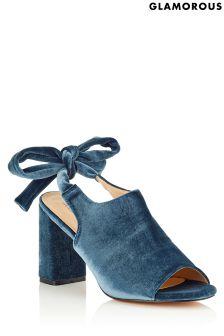 Glamorous Open Toe Velvet Boots