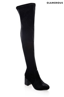 Glamorous Over The Knee Velvet Boots