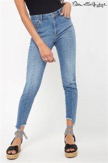 Miss Selfridge Mid Rise Asymmetric Hem Jeans