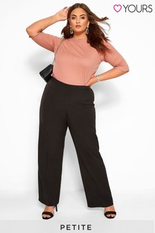 "Yours Curve 28"" Classic Straight Leg Trousers With Elasticated Waistband - Petite"