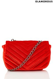 Glamorous Quilted Velvet Cross Body Bag