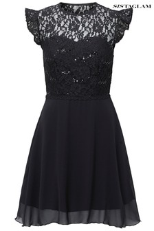 Sistaglam Lace Short Sleeve Boucle Skirt Dress