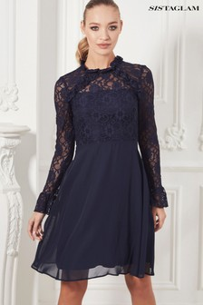 Sistaglam Long Sleeve Lace Skater Dress