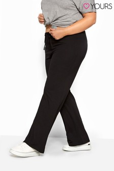 Yours Curve Bestseller Wide Leg Pull On Stretch Jersey Yoga Pants