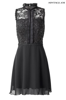 Sistaglam Skater Dress With Sequin Lace Top Dress