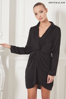 Sistaglam Long Sleeve Collar Wrap Dress