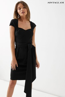 Sistaglam Tie Front Midi Dress
