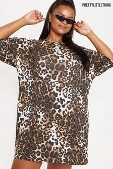 PrettyLittleThing Curve Leopard Tee Dress