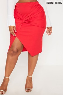 PrettyLittleThing Curve Knot Front Midi Skirt