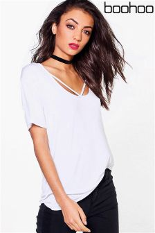Boohoo Strappy Front Oversized Tee