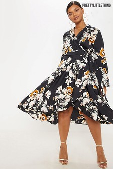 PrettyLittleThing Curve Floral Wrap Shift Dress
