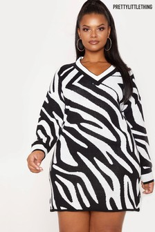 PrettyLittleThing Curve Zebra Jumper Dress