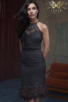 Lipsy VIP Feather Hem Lace Midi Dress