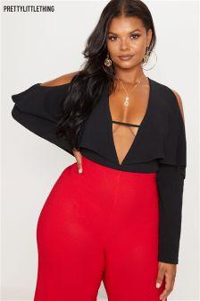 PrettyLittleThing Curve Cutout Ruffle Sleeve Bodysuit