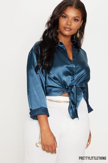 PrettyLittleThing Curve Satin Button Front Shirt