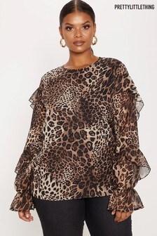 PrettyLittleThing Curve Ruffle Leopard Blouse
