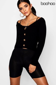 Boohoo Rib Knit Button Front Cardigan