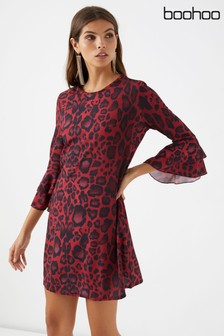 Boohoo Animal Print Shift Dress