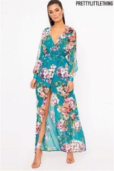 PrettyLittleThing Split Sleeve Detail Floral Maxi Dress