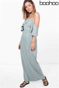 Boohoo Petite Open Shoulder Maxi Dress