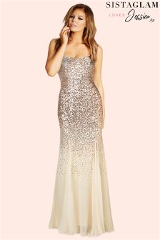 Sistaglam Loves Jessica Sequin Bardot Maxi Dress