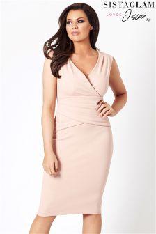 Sistaglam Loves Jessica V-neck Ruched Slim Fitting Bodycon Dress
