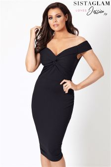 Jessica Wright Bardot Midi Knot Dress