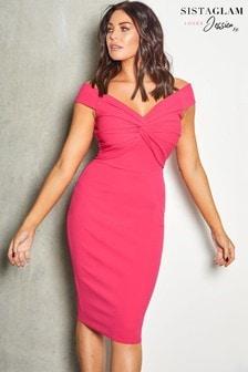 שמלת מידי עם מחשוף רחב וקשר של Sistaglam Loves Jessica