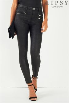 Lipsy Kate High Waist Glitter Zip Detail Jeans