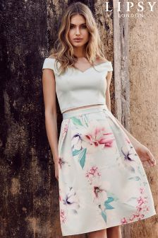 Lipsy Floral Satin Prom Skirt