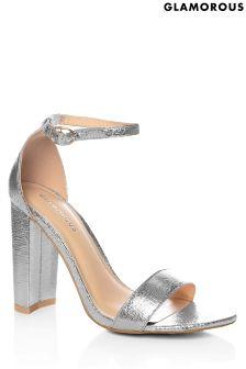 Silver Block Mid Heeled Sandals - Silver Glamorous EuPM389