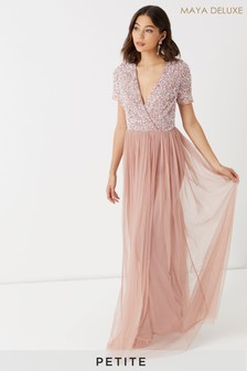 Maya Petite Embellished Wrap Front Cap Sleeve Maxi Dress