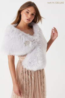 Maya Brooch Faux Fur Cape