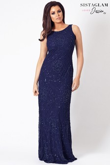 Sistaglam Loves Jessica Cowl Back Beaded Maxi Dress