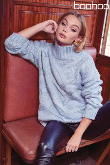 Boohoo Cable Knit High Neck Jumper