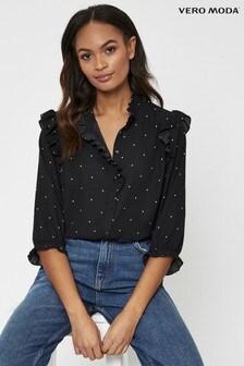 Vero Moda Polka Dot Frill Detail Shirt