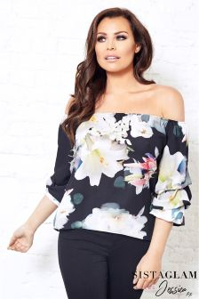 Sistaglam Loves Jessica Satin Floral Bardot Volume Sleeve Top