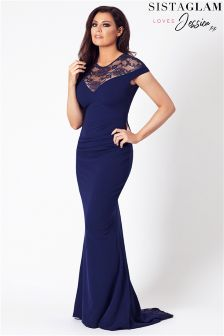Sistaglam Loves Jessica Lace Panel Fishtail Maxi Dress