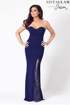 Sistaglam Loves Jessica Lace Bandeau Maxi Dress